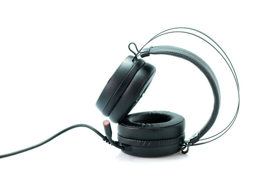 Gaming headset, Hight quality sound black headphones on a white background.