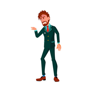 wicked caucasian businessman screaming at delivery service worker cartoon vector. wicked caucasian businessman screaming at delivery service worker character. isolated flat cartoon illustration