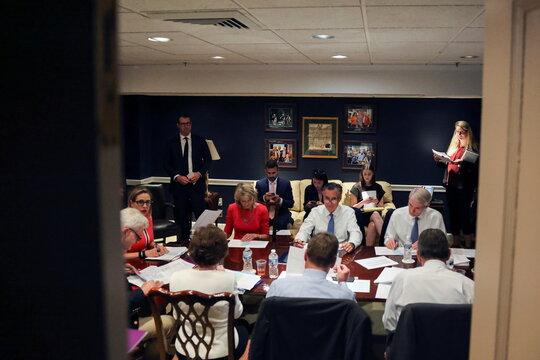 U.S. senators attend bipartisan work group meeting on infrastructure legislation at the U.S. Capitol in Washington