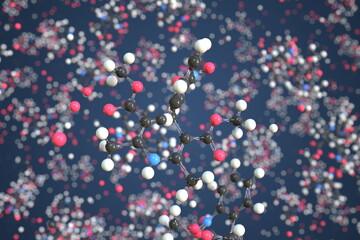 Fototapeta Molecule of Nifedipine. Molecular model, conceptual 3d rendering obraz