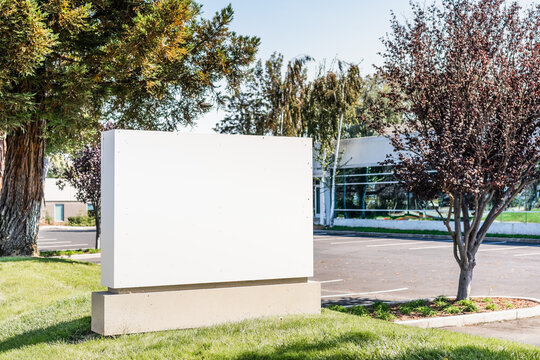 Blank company signboard in an office park in Silicon Valley; San Francisco Bay, California