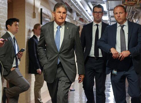 U.S. Senator Manchin departs after bipartisan work group meeting on infrastructure legislation at the U.S. Capitol in Washington