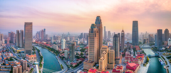 Aerial photography of Tianjin city architecture landscape skyline - fototapety na wymiar
