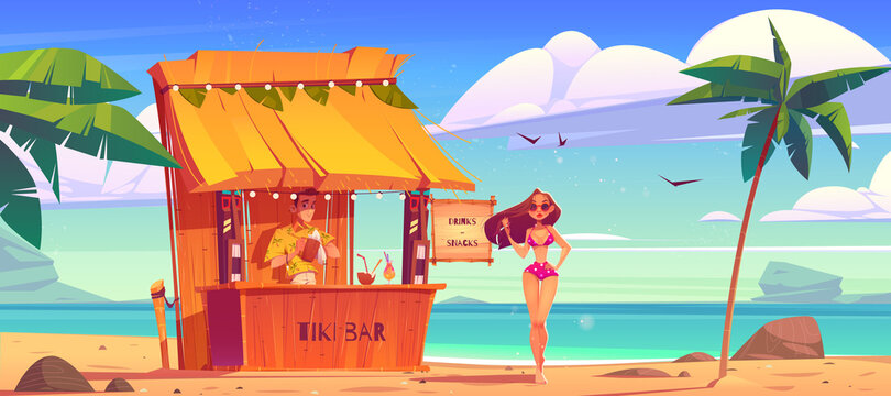Summer beach with tiki bar and girl in bikini. Sea landscape with wooden cafe, bartender and beautiful woman in sunglasses. Vector cartoon illustration of tropical ocean shore with palm trees