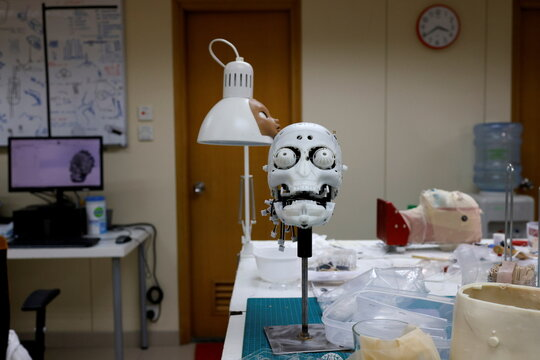 The model of a robot head is pictured at Hanson Robotics' lab in Hong Kong