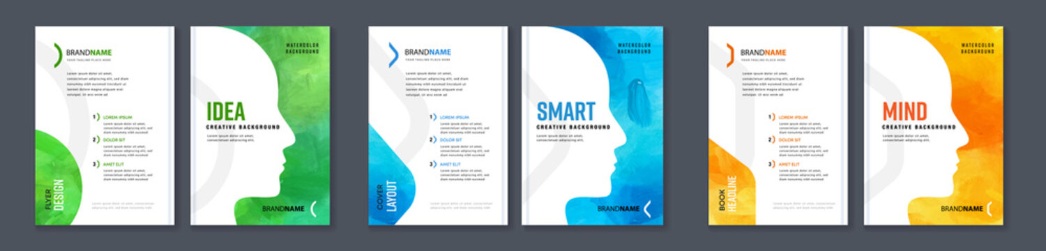 Watercolor booklet colourful cover bundle set with head profile silhouette for motivational intellectual development books on white background