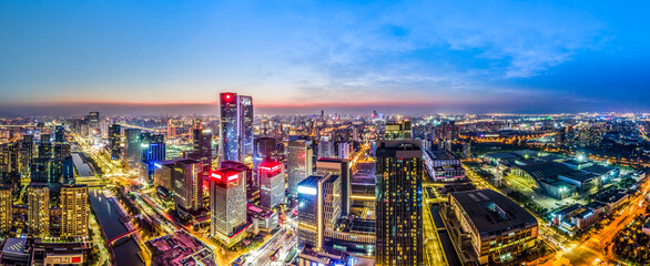 Aerial photography of the night view of the urban architecture skyline of Ningbo, Zhejiang - fototapety na wymiar