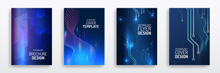 Obraz Abstract technology cover with circuit board. High tech brochure design concept. Set of Futuristic business layout. Futuristic Digital poster templates. - fototapety do salonu