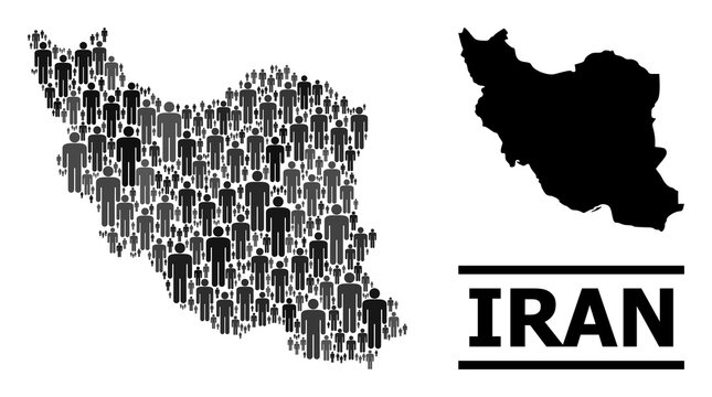 Map of Iran for social applications. Vector nation mosaic. Concept map of Iran composed of crowd pictograms. Demographic concept in dark grey color tinges.