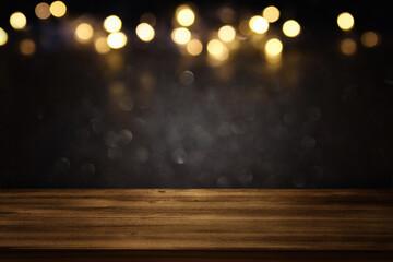 Obraz  Empty table and gold glitter lights background - fototapety do salonu