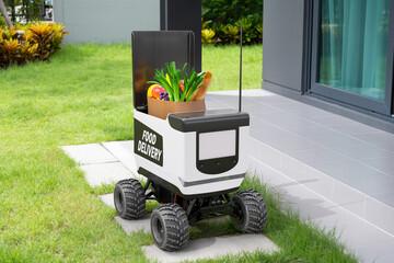 Obraz Autonomous robots deliver food to customers, Smart artificial intelligence technology concept - fototapety do salonu