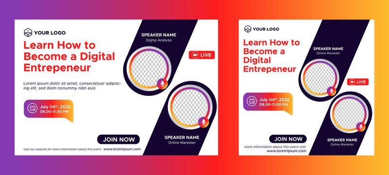 Digital Business Entrepeneur live webinar banner invitation and social media post template. Business webinar invitation design. Vector EPS