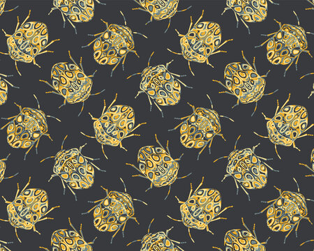 Seamless pattern with detailed illustrations of  beetle insects on a black background in dotted repeat.
