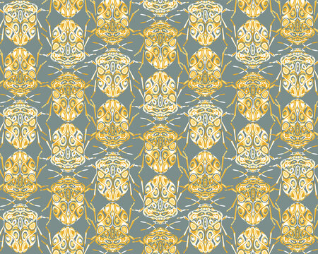 Seamless pattern with decorative illustrations of beetle insects on a green background in a vertical repeat.