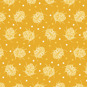 Seamless pattern with detailed illustrations of beetle insects on a dark yellow, dotted background in scattered repeat.