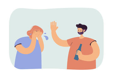 Obraz Drunk man abusing woman. Bearded male character with bottle screaming at crying wife or girlfriend. Alcohol problems or family abuse concept for banner, website design or landing page - fototapety do salonu