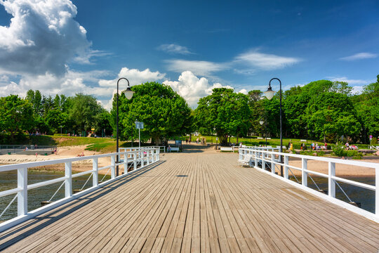 Summer scenery of the Baltic Sea at the pier in Gdynia Orlowo, Poland