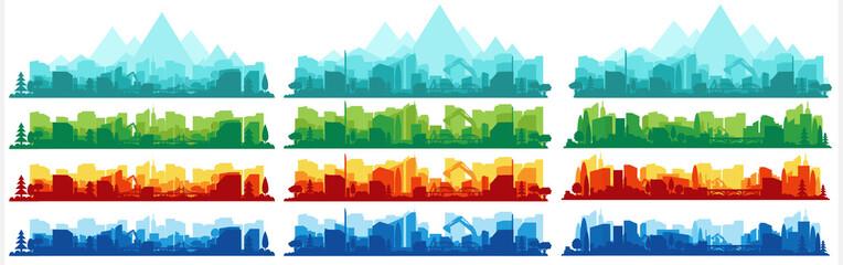 Fototapeta Collection of city landscapes on a light background. City landscape in different colors.  obraz