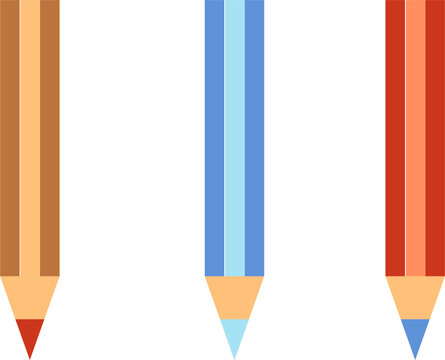 Set of three different colored pencils flat minimal illustration graphics or icons