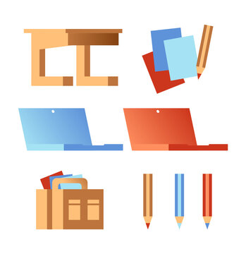 Work & education graphics set collection of different school study university work graphics or icon items