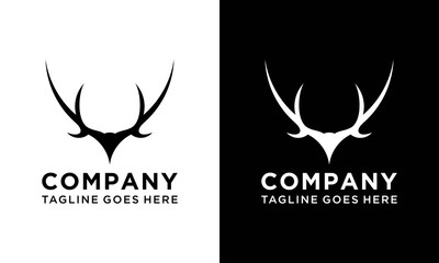 black deer antlers logo vector illustration icon.