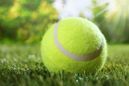 Summer background with tennis ball on meadow