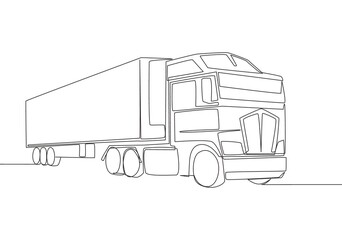 One line drawing of modern big trailer truck with container. Courier cargo delivering vehicle transportation concept. Single continuous line draw design