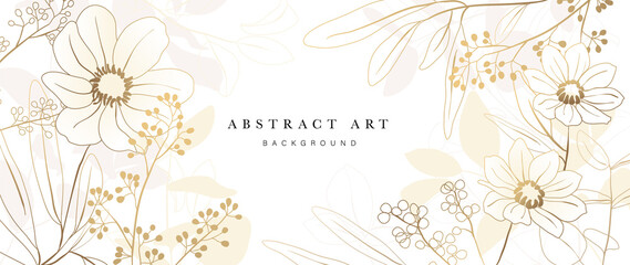 Obraz Golden Wild Flowers line art background vector. Luxury abstract art background with artificial flowers, Gold leaves, eucalyptus, trending hydrangea and summer blooms. Botanical wedding wallpaper.  - fototapety do salonu