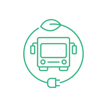 Electric bus in a circle with a leaf and a plug. Hybrid vehicle charging station sign. Green energy zero emission concept. Eco friendly city transport. Thin line icon. Vector illustration, clip art.