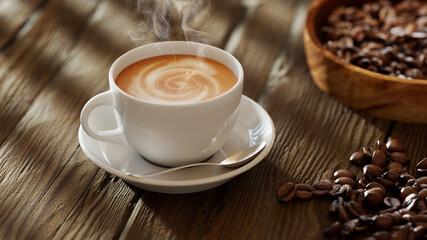 Frische Tasse Kaffee mit Kaffeebohnen auf Tisch