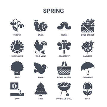 icon set of 16 spring concept vector filled icons such as snail, sunflower, ladybug, picnic basket, tree, tulip, barbecue grill, dragonfly, food basket