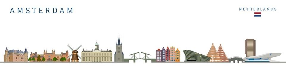 Fototapeta Amsterdam monument buildings city skyline and landmarks colorful vector illustration. obraz