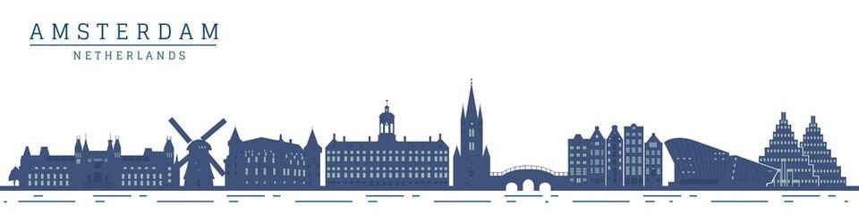 Fototapeta Amsterdam monument buildings city skyline and landmarks vector illustration. obraz