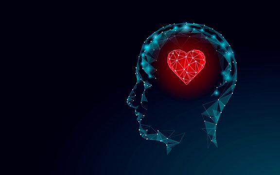 World Mental Health Day. Mood support drug therapy medical care. Sedative balance depression correction. Psychology disorder brain polygon medicine science banner vector illustration