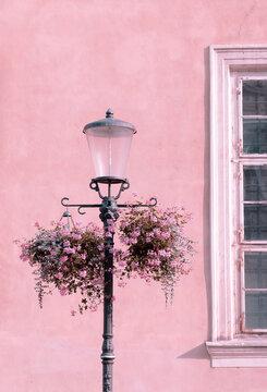 European architecture. Street light. Stylish wallpaper. Travel concept. Slovenia