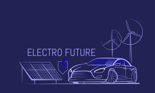 Electric car line. Eco energy of nature. Solar panel and wind turbine.