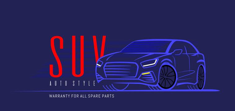 Suv car logo on dark background. Vector