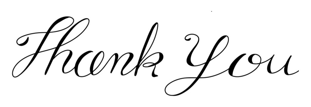 Black color handwriting in word thank you on white background