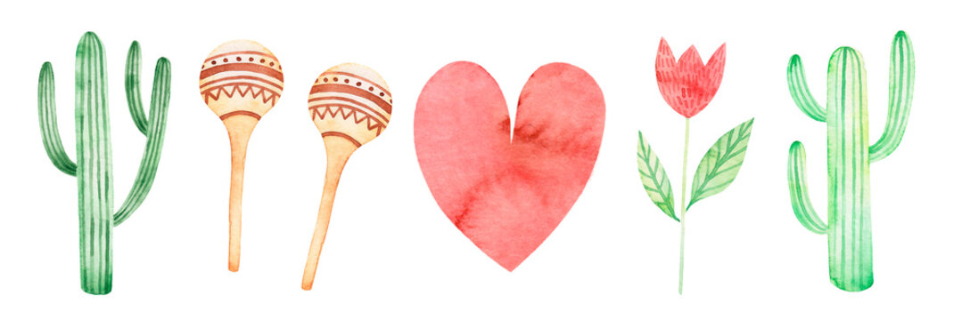 Watercolor set cacti, maracas, red heart, red flower. Cute illustration for a Mexican holiday. Cinco de mayo clipart. Fiesta, carnival, party, birthday. Isolated over white background.