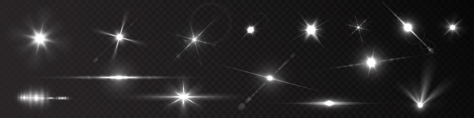 Fototapeta Flash light on black background. Vector glow sparkle effect. Abstract lens flare ignition. Flashing lights obraz
