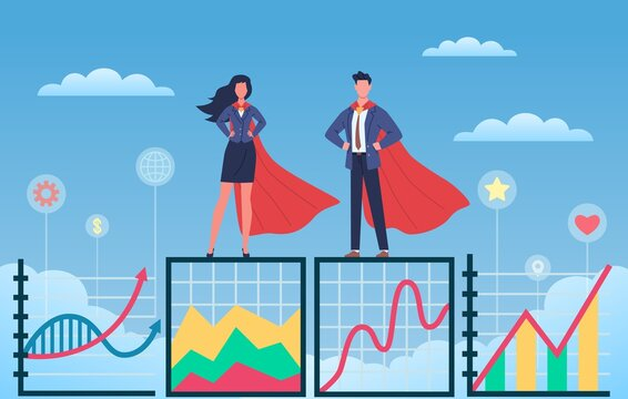 Business superheroes. Man and woman in flowing capes and suits standing on growth graph, professionals group together, people teamwork. Success and progress concept. Vector infographic