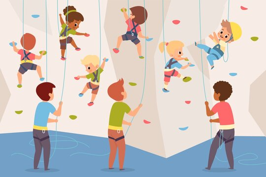 Rock climbing wall. Boys and girls team climb up stone dummy, adults insure children below, children crawling up wall with colored ledges, kids extreme mountaineering section vector concept