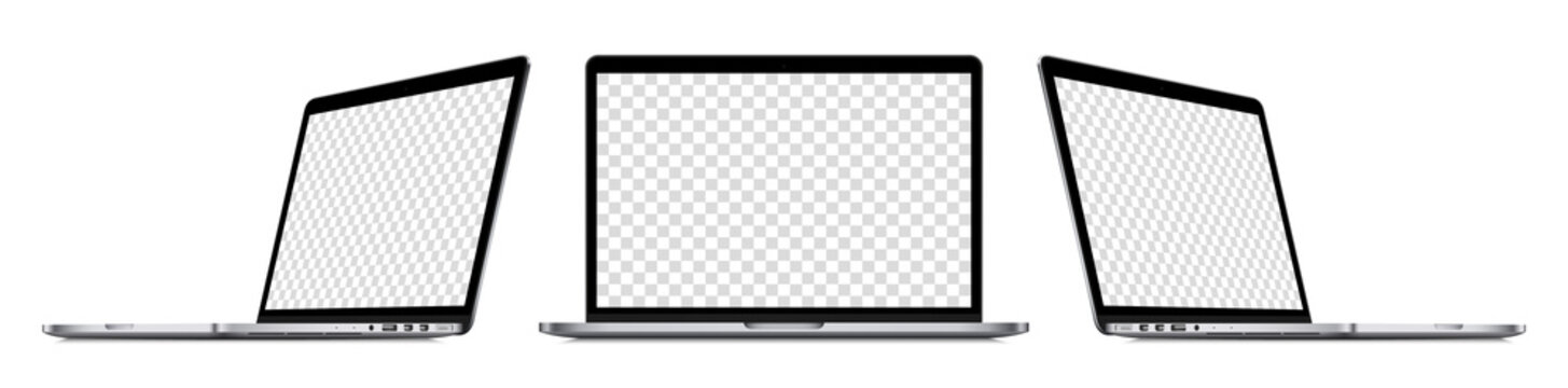 Realistic laptop computer mockup set : front view, sideway view. Isolated perspective devices with empty screens on white background. Editable blank screen mock-up. Vector illustration.