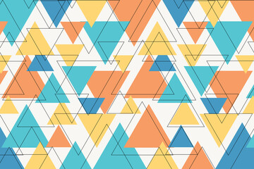 Colorful geometric with thin black line