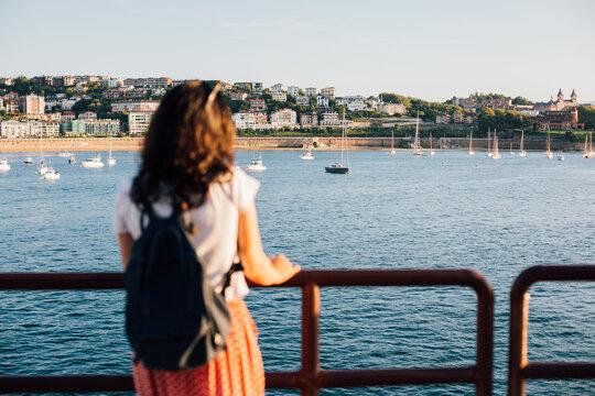 San Sebastian bay in Spain through the eyes of a tourist girl