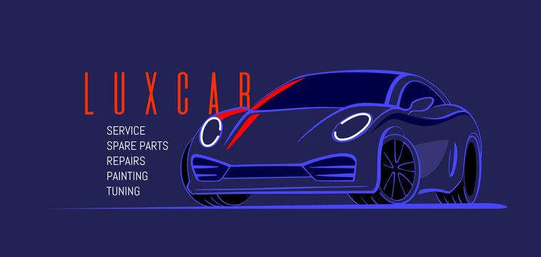 Auto sports car design. Vehicle line style on black background. Vector illustration.