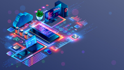 Obraz Programming and coding of program product or code. Workplace of computer software developers. Technology creating cross platform application. Modern Tech isometric conceptual illustration. - fototapety do salonu