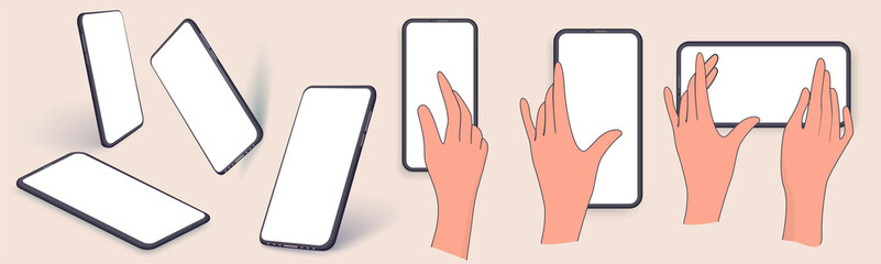 Fototapeta Layouts, mobile phone templates in various positions. Hand holding the phone. Application on touch screen device. Editable smartphone template vector illustration on isolated background obraz