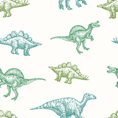 Obraz Hand Drawn Dinosaurs Vector Seamless Background Pattern. Spinosaurus, Stegosaurus and Iguanodon Colorful Sketches Card, Wrapping or Cover Template - fototapety do salonu