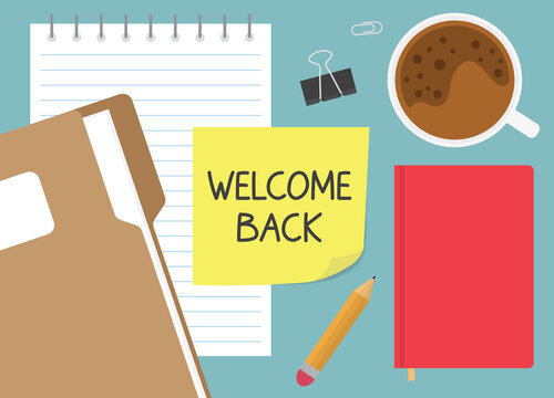 welcome back written on yellow sticky note- vector illustration